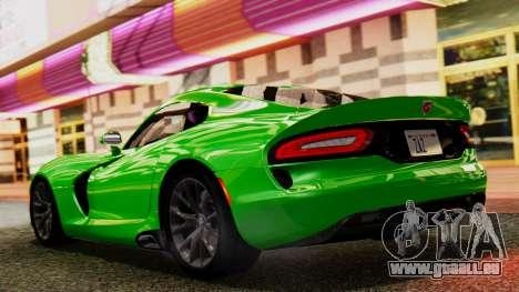 Dodge Viper SRT GTS 2013 IVF (MQ PJ) No Dirt pour GTA San Andreas sur la vue arrière gauche
