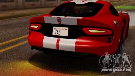 Dodge Viper SRT GTS 2013 IVF (MQ PJ) LQ Dirt für GTA San Andreas Rückansicht