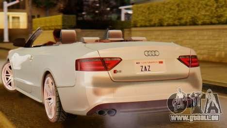 Audi S5 2010 Cabriolet pour GTA San Andreas sur la vue arrière gauche