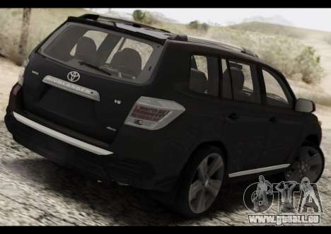 Toyota Highlander 2011 pour GTA San Andreas sur la vue arrière gauche