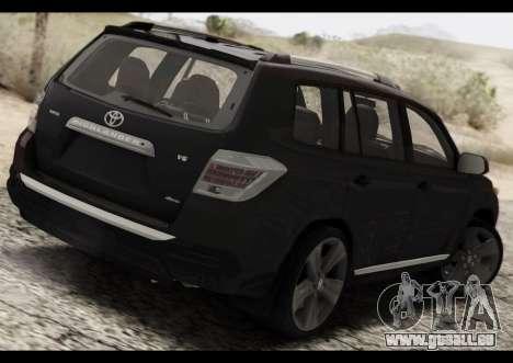 Toyota Highlander 2011 für GTA San Andreas zurück linke Ansicht