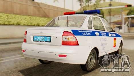 Lada 2170 Priora la police de la circulation de  pour GTA San Andreas laissé vue