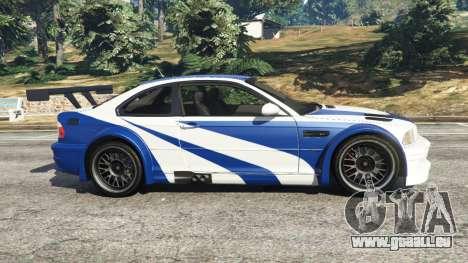 GTA 5 BMW M3 GTR E46 Most Wanted vue latérale gauche