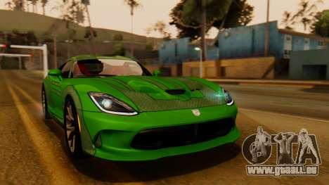 Dodge Viper SRT GTS 2013 IVF (HQ PJ) No Dirt pour GTA San Andreas vue arrière
