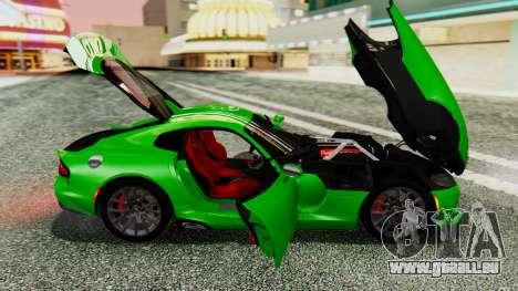 Dodge Viper SRT GTS 2013 IVF (MQ PJ) No Dirt pour GTA San Andreas vue arrière
