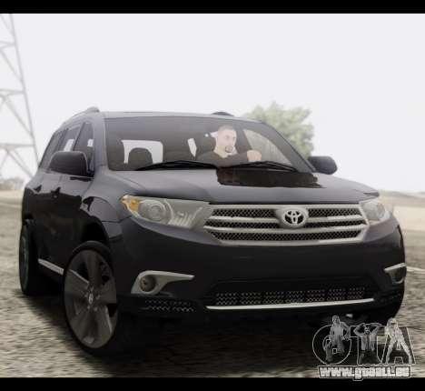 Toyota Highlander 2011 pour GTA San Andreas vue arrière