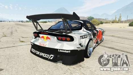 GTA 5 Mazda RX-7 MadMike arrière vue latérale gauche