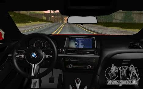 BMW M6 2013 v1.0 pour GTA San Andreas sur la vue arrière gauche