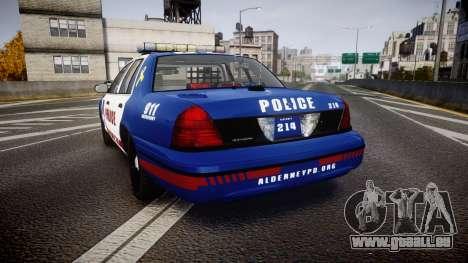 Ford Crown Victoria Alderney Police [ELS] pour GTA 4 Vue arrière de la gauche