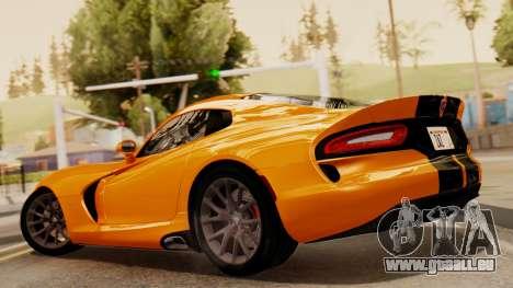 Dodge Viper SRT GTS 2013 IVF (HQ PJ) No Dirt pour GTA San Andreas laissé vue