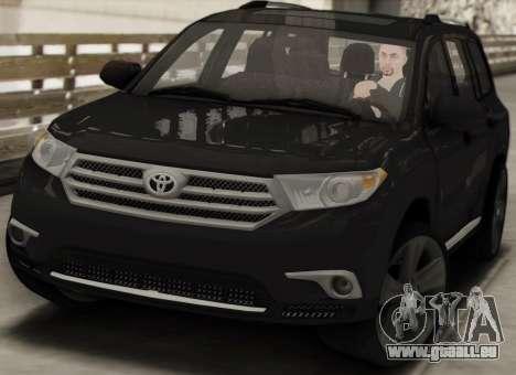 Toyota Highlander 2011 pour GTA San Andreas vue intérieure