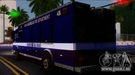 FDSA Hazardous Materials Squad Truck pour GTA San Andreas laissé vue