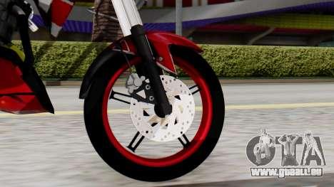 Yamaha Vixion Advance pour GTA San Andreas sur la vue arrière gauche
