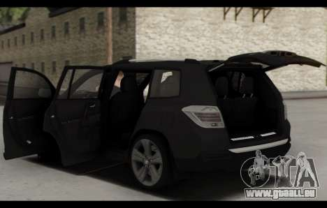 Toyota Highlander 2011 für GTA San Andreas Unteransicht