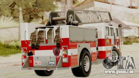 SAFD Fire Lader Truck für GTA San Andreas zurück linke Ansicht