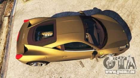 GTA 5 Ferrari 458 Italia v0.9.3 vue arrière
