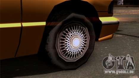 Taxi Kuruma 0.9 pour GTA San Andreas sur la vue arrière gauche