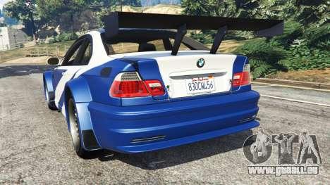 GTA 5 BMW M3 GTR E46 Most Wanted arrière vue latérale gauche