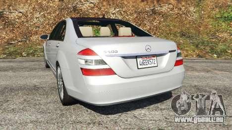 GTA 5 Mercedes-Benz S500 W221 v0.3 [Alpha] arrière vue latérale gauche