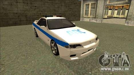 Nissan Skyline R32 Russian Police für GTA San Andreas Rückansicht