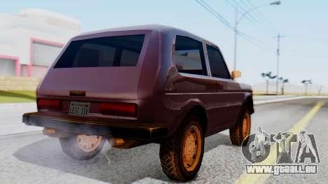 Les VASES Niva 2121 SA Style pour GTA San Andreas laissé vue