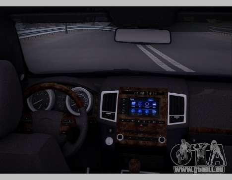 Lexus GX460 2014 pour GTA San Andreas vue intérieure
