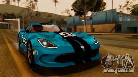 Dodge Viper SRT GTS 2013 IVF (HQ PJ) No Dirt pour GTA San Andreas vue de dessus