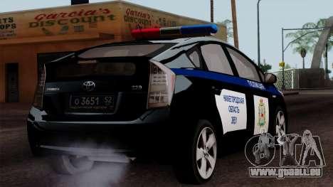 Toyota Prius ДПС pour GTA San Andreas laissé vue