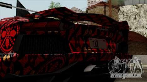 Lamborghini Aventador LP-700 Batik pour GTA San Andreas vue intérieure