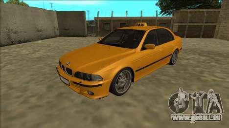 1999 BMW 530d E39 Taxi für GTA San Andreas zurück linke Ansicht