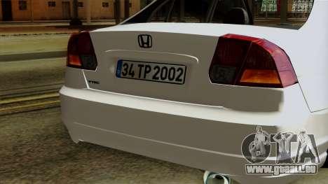 Honda Civic 2005 pour GTA San Andreas vue intérieure