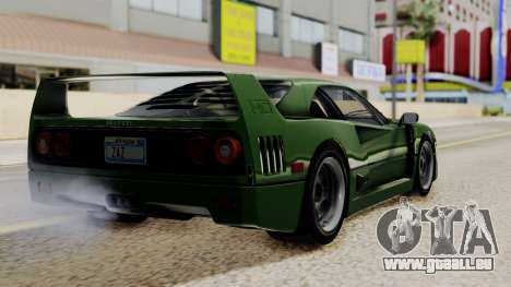 Ferrari F40 1987 with Up without Bonnet IVF pour GTA San Andreas laissé vue