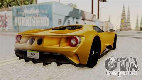 Ford GT 2016 Black Revel pour GTA San Andreas laissé vue