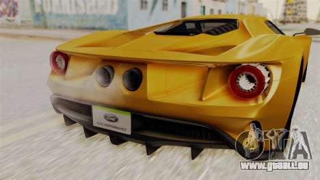 Ford GT 2016 Black Revel für GTA San Andreas rechten Ansicht