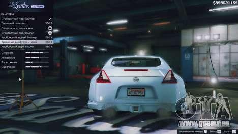 GTA 5 Nissan 370z avant droite vue de côté