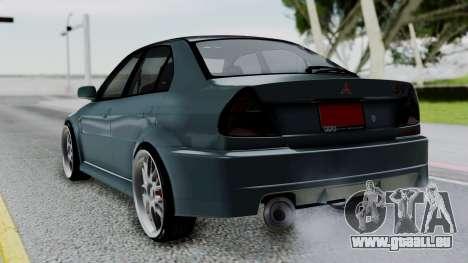 Mitsubishi Lancer Evolution Turbo pour GTA San Andreas laissé vue