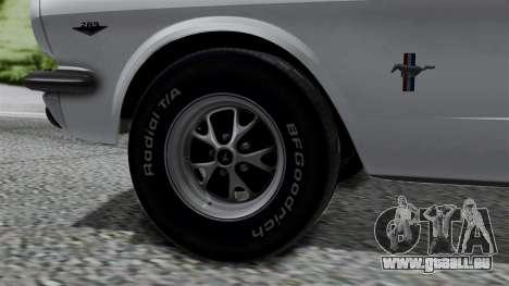 Ford Mustang Fastback 289 1966 pour GTA San Andreas sur la vue arrière gauche