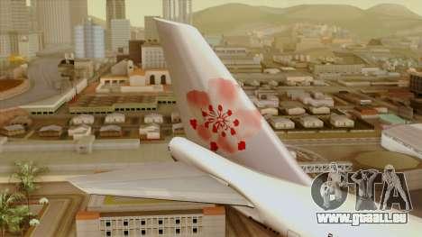 Boeing 747-200 China Airline für GTA San Andreas zurück linke Ansicht