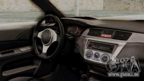 Mitsubishi Lancer Evolution v2 pour GTA San Andreas vue de droite