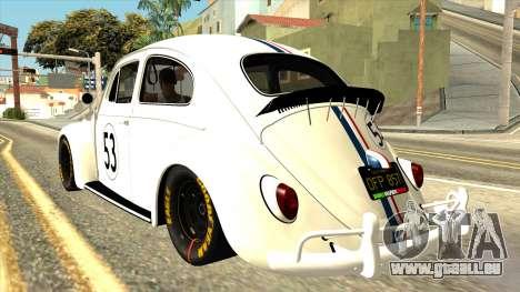 Volkswagen Beetle Herbie Fully Loaded pour GTA San Andreas laissé vue