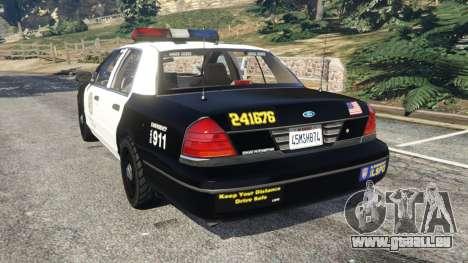 GTA 5 Ford Crown Victoria 1999 Police v1.0 arrière vue latérale gauche