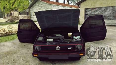 Volkswagen Golf Mk2 Line für GTA San Andreas Unteransicht