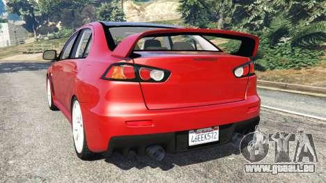 GTA 5 Mitsubishi Lancer Evolution X arrière vue latérale gauche