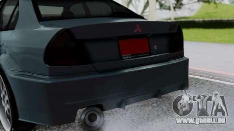 Mitsubishi Lancer Evolution Turbo für GTA San Andreas Rückansicht