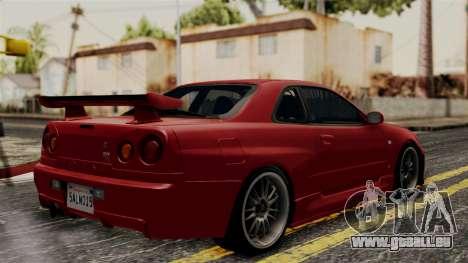 Nissan Skyline GT-R R34 2012 für GTA San Andreas zurück linke Ansicht