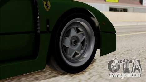 Ferrari F40 1987 with Up without Bonnet IVF pour GTA San Andreas sur la vue arrière gauche