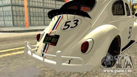 Volkswagen Beetle Herbie Fully Loaded pour GTA San Andreas vue arrière