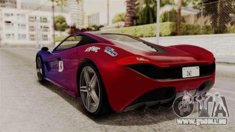 GTA 5 Progen T20 SA Style pour GTA San Andreas vue intérieure