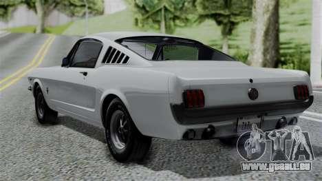Ford Mustang Fastback 289 1966 pour GTA San Andreas laissé vue