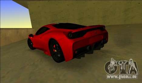 Ferrari 458 Besonderes für GTA Vice City zurück linke Ansicht
